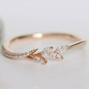 New Rose Gold Dainty Marquise Leaf & Branch Ring